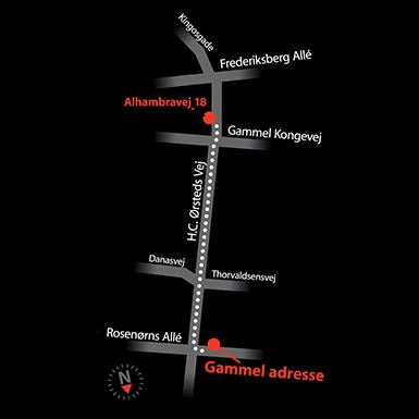 Kort til vores nye beliggenhed