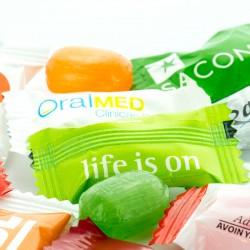 Reklame Bonbon Organic Flowpack med dit logo.
