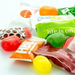 Reklame Bonbon Organic Flowpack med dit firmas logo.