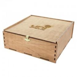 Belgiske Praliner i Træboks, 225 gram med dit firmas logo